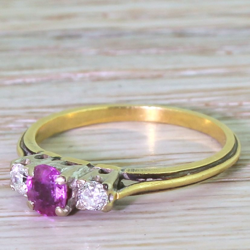 late 20th century pink sapphire 038 diamond trilogy ring circa 1975