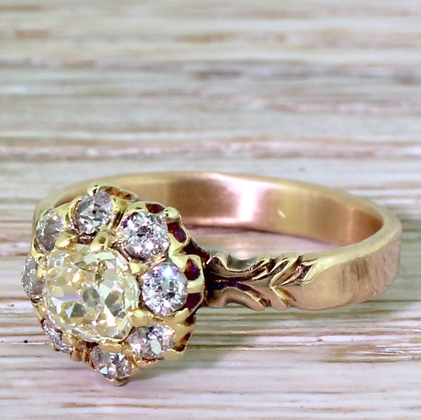 victorian 140 carat old cut diamond cluster ring circa 1870