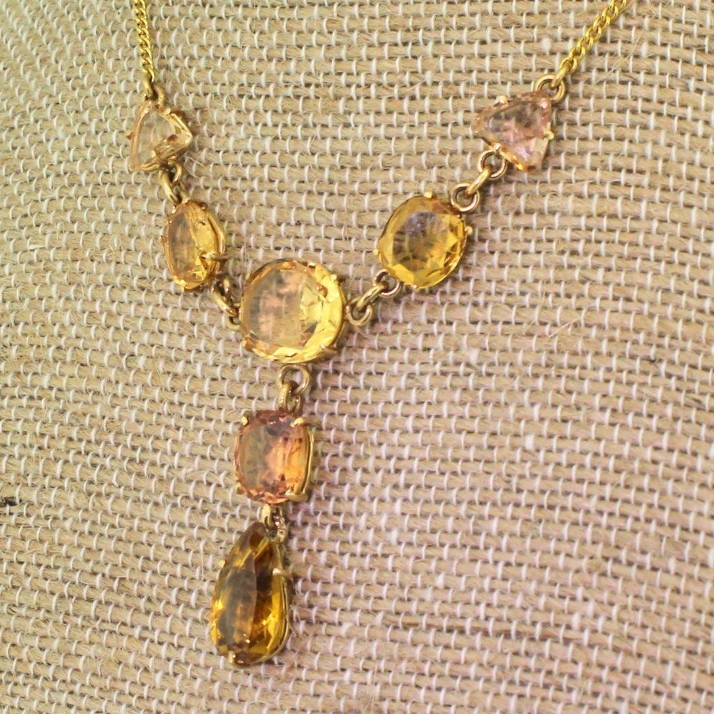 victorian topaz 038 citrine drop necklace circa 1900