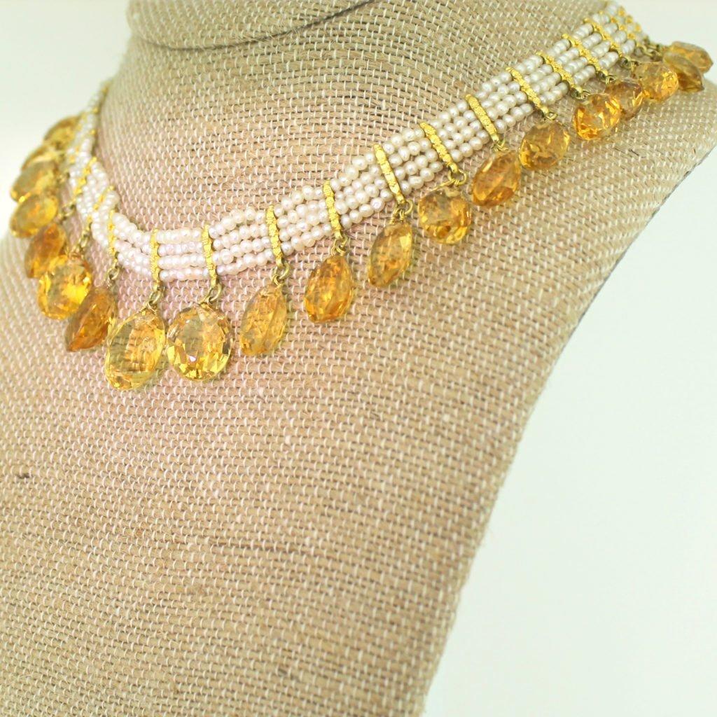 mid century 9800 carat citrine 038 seed pearl necklace circa 1960