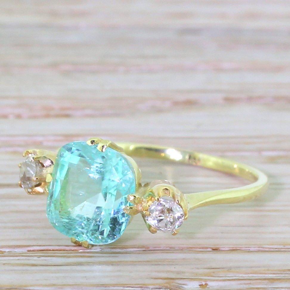 victorian 290 carat paraiba tourmaline 038 old cut diamond trilogy ring 18k gold