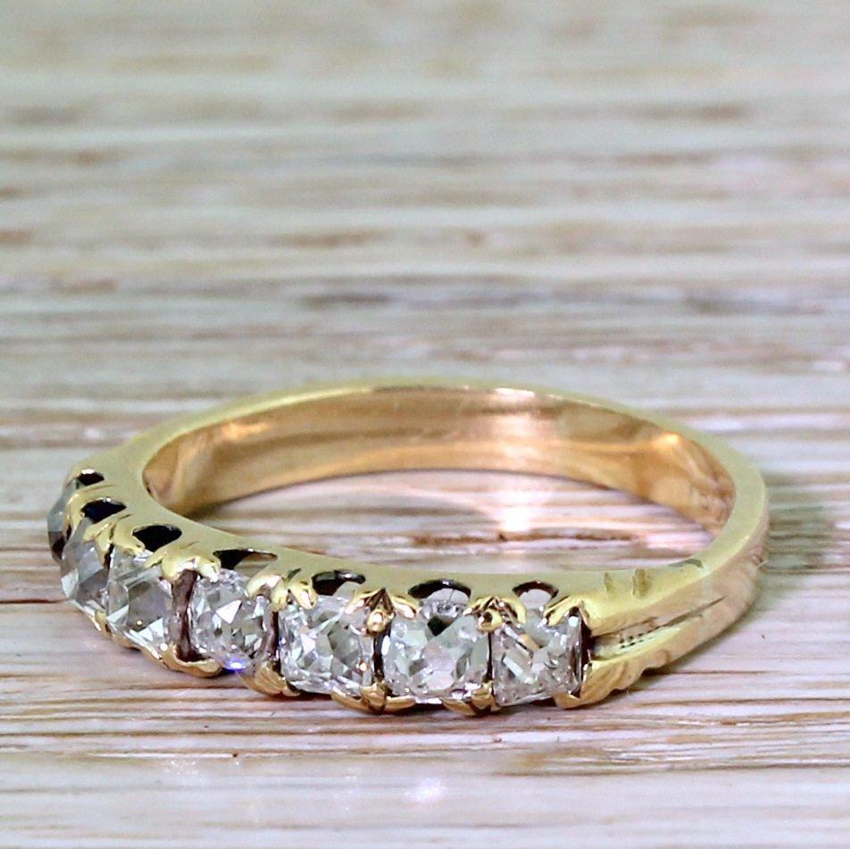victorian 100 carat old cut diamond seven stone ring circa 1850