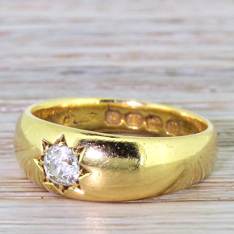 victorian 033 carat old cut diamond band ring dated 1887