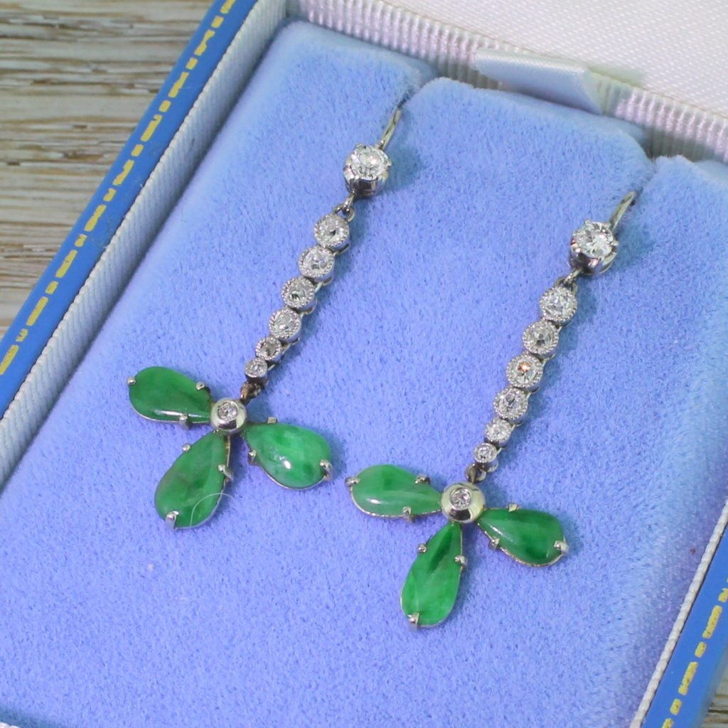 retro jade 038 088 carat old cut diamond drop earrings circa 1950