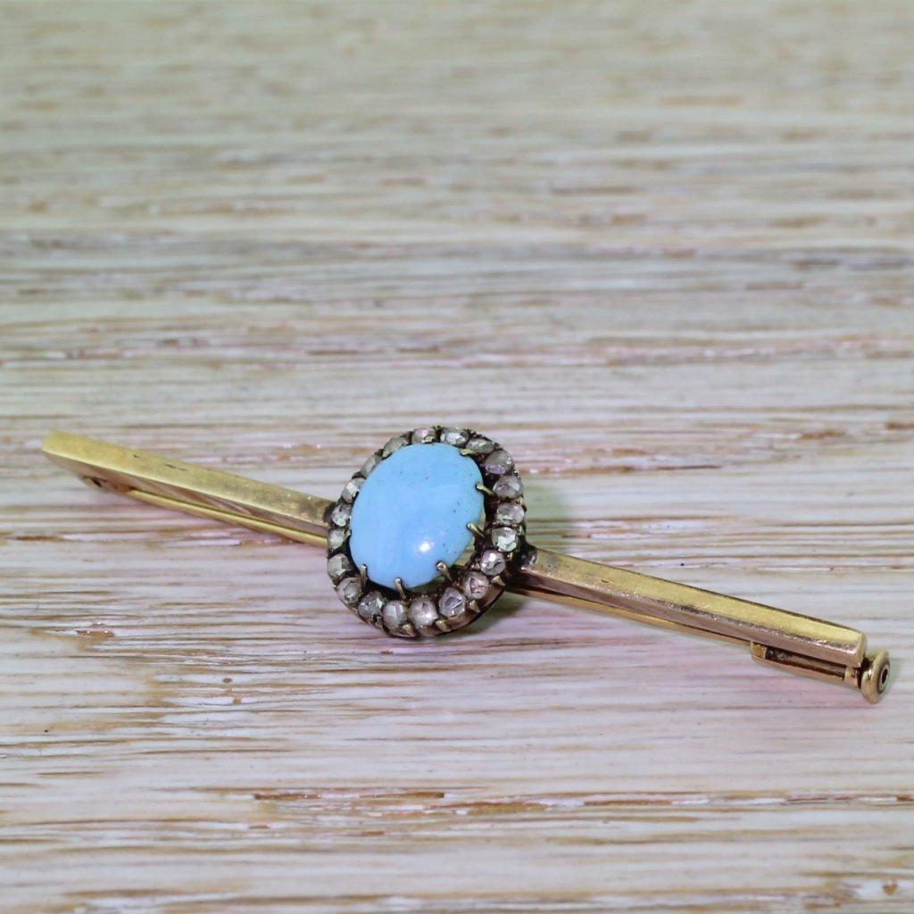 victorian turquoise 038 rose cut diamond bar brooch circa 1890