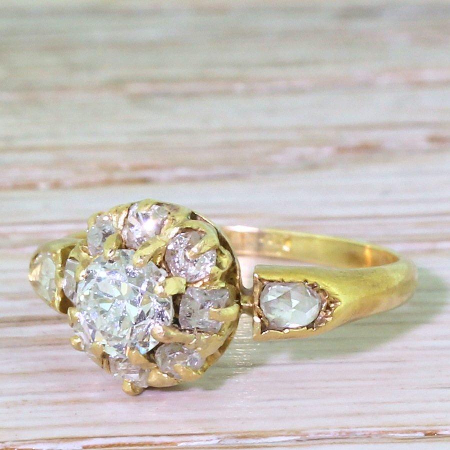 victorian 100 carat old cut diamond target cluster ring circa 1900