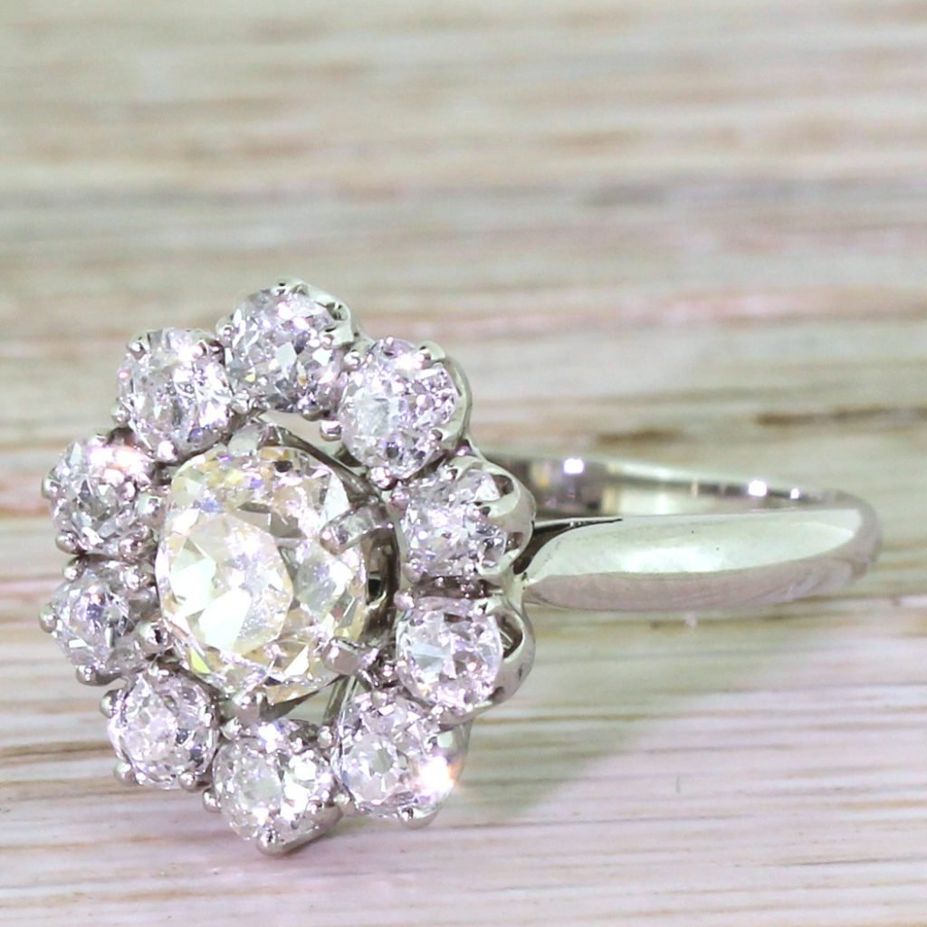 mid century 318 carat old cut diamond cluster ring french circa 1960