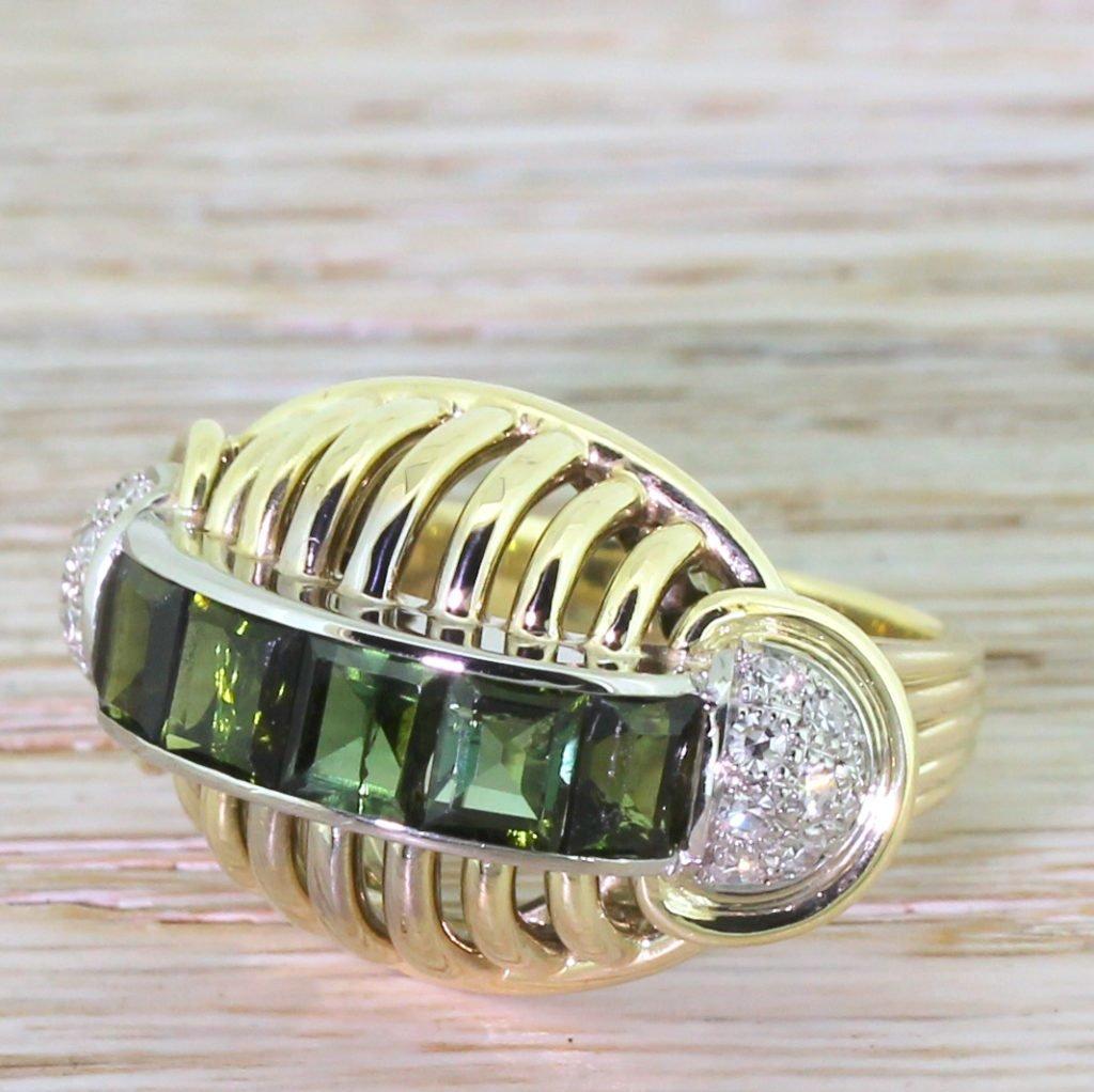 retro green tourmaline 038 diamond cocktail ring circa 1945
