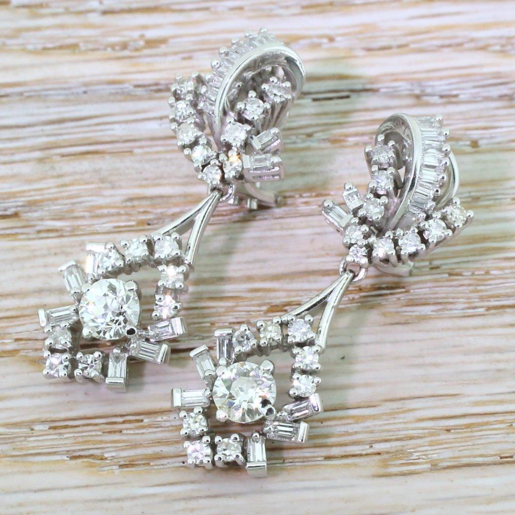 retro 300 carat old cut 038 baguette cut diamond drop earrings circa 1950