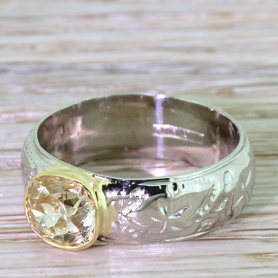mid century 143 carat light yellow diamond solitaire ring circa 1955