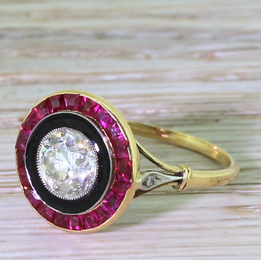 art deco 106 carat old cut diamond black enamel 038 ruby target ring circa 1915