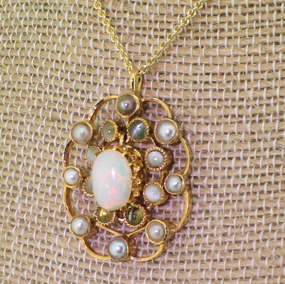 art deco opal natural pearl 038 cat8217s eye pendant circa 1930