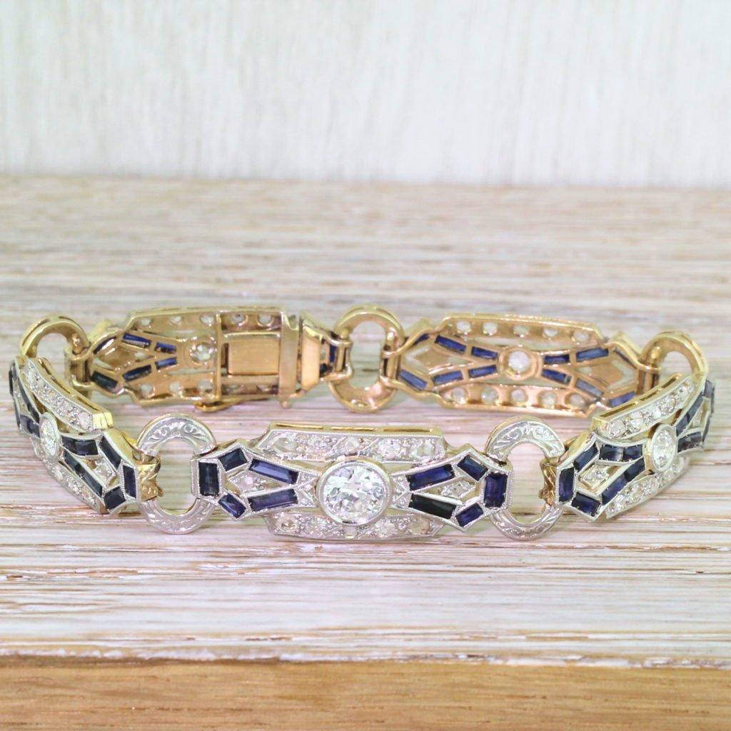 art deco old cut diamond 038 baguette cut sapphire bracelet boxed circa 1915