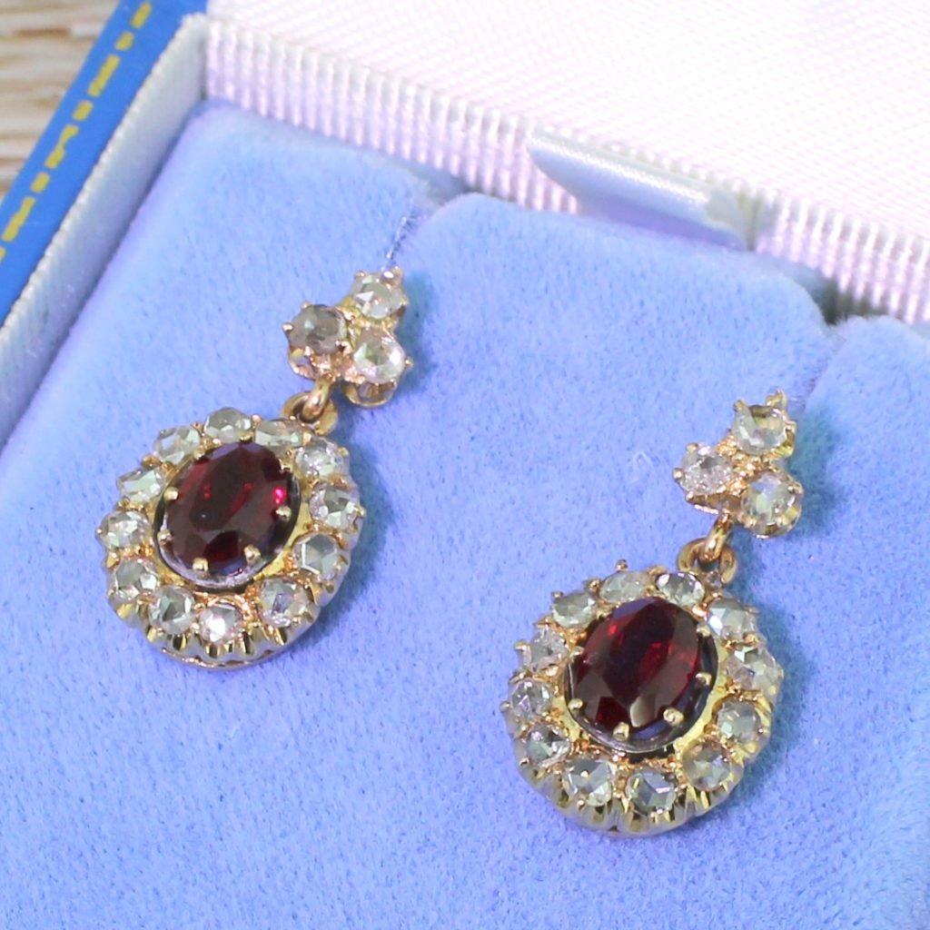 victorian ruby 038 rose cut diamond cluster earrings circa 1900