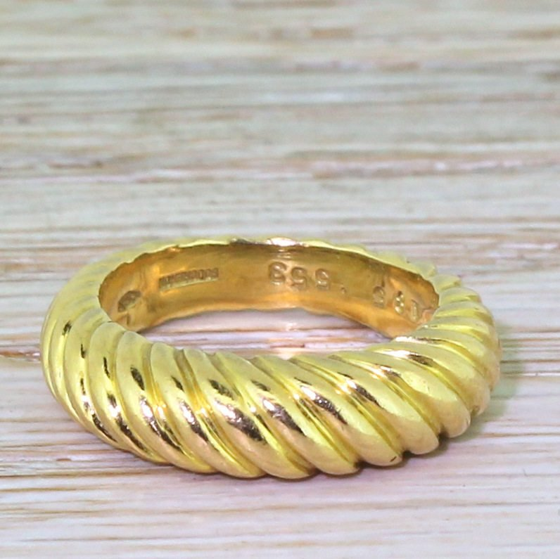boucheron 18k yellow gold grooved ring french circa 1970