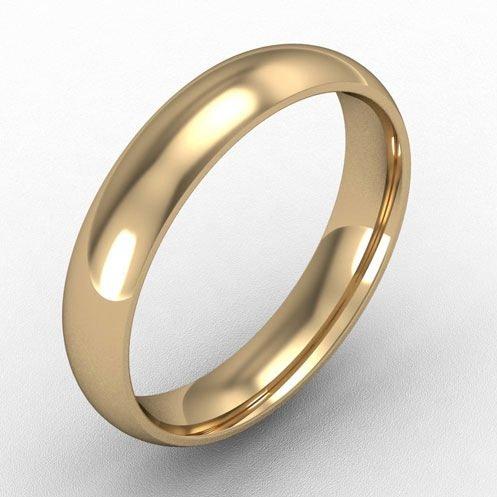 4mm court shaped wedding band 18k gold