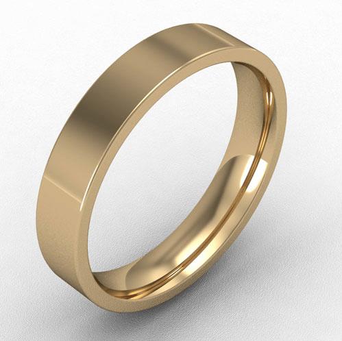 4mm flat court wedding band 18k gold