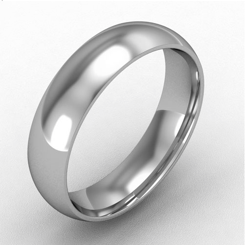 5mm court shaped wedding band platinum