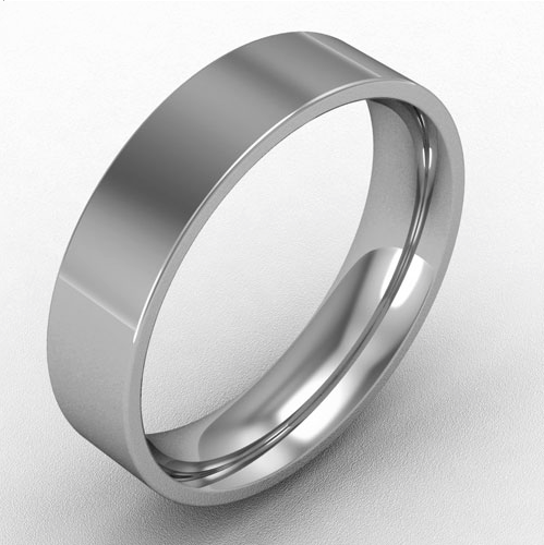 5mm flat court wedding band platinum