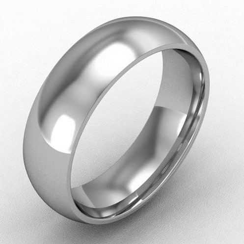 6mm court shaped wedding band platinum
