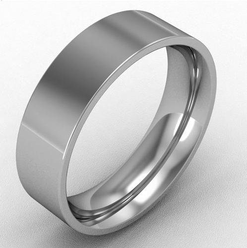 6mm flat court wedding band platinum