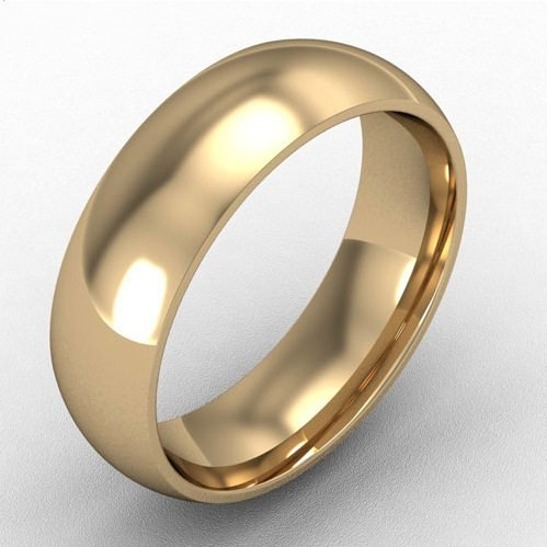 6mm court shaped wedding band 18k gold