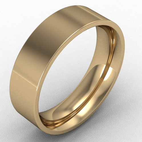 6mm flat court wedding band 18k gold