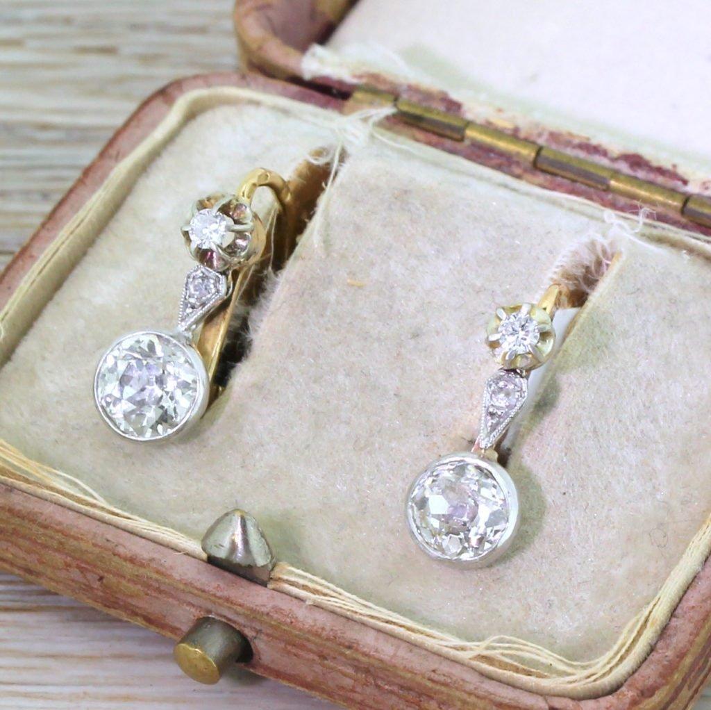 edwardian 238 old cut diamond drop earrings circa 1910