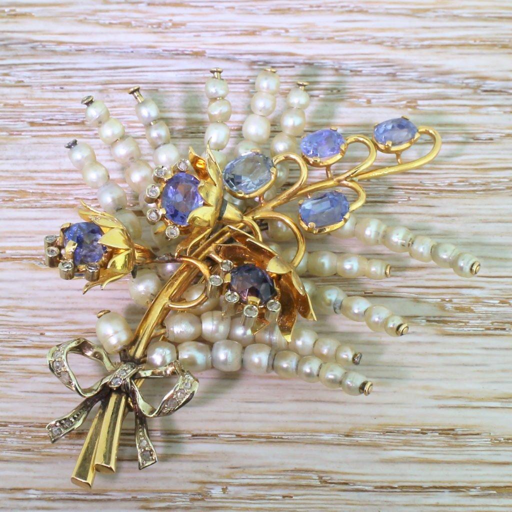 art deco natural pearl natural sapphire 038 rose cut diamond foliate brooch circa 1930