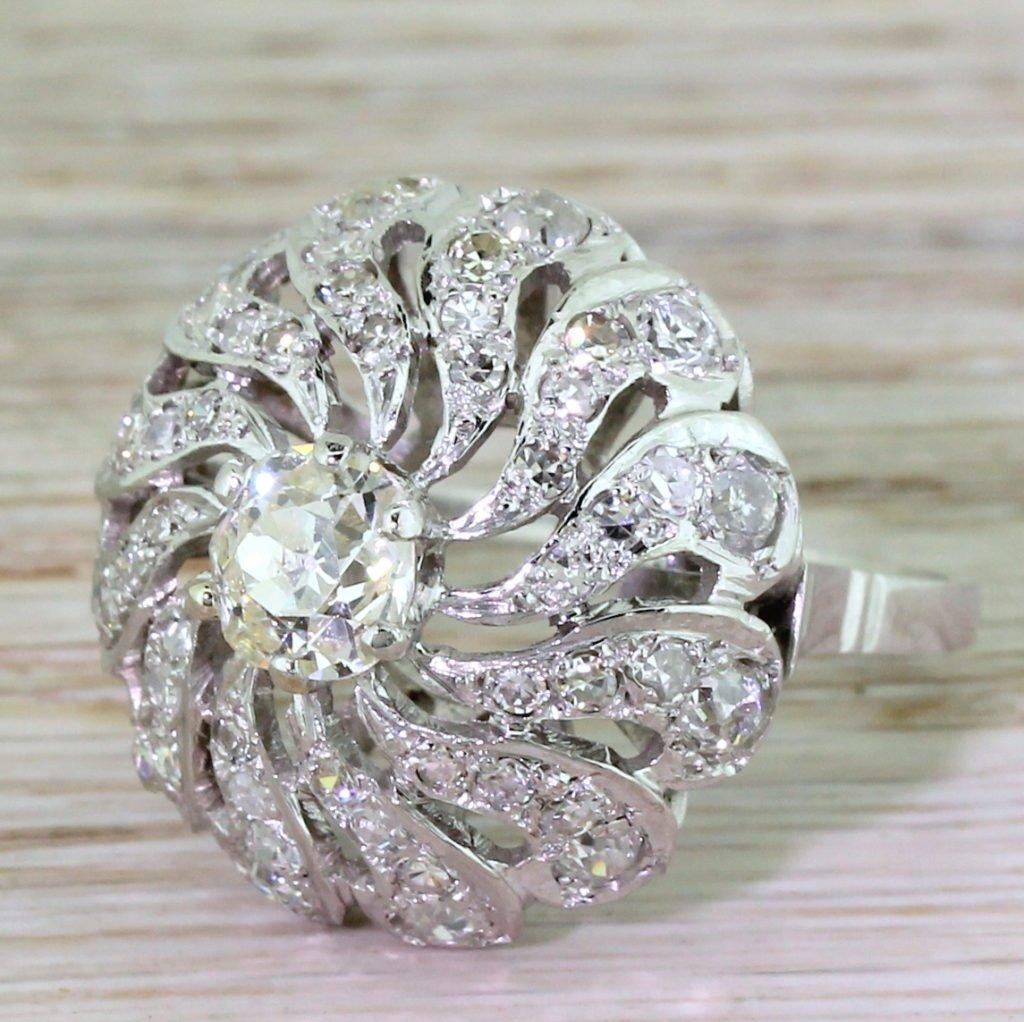 edwardian 328 carat old cut diamond bomb cluster ring circa 1910