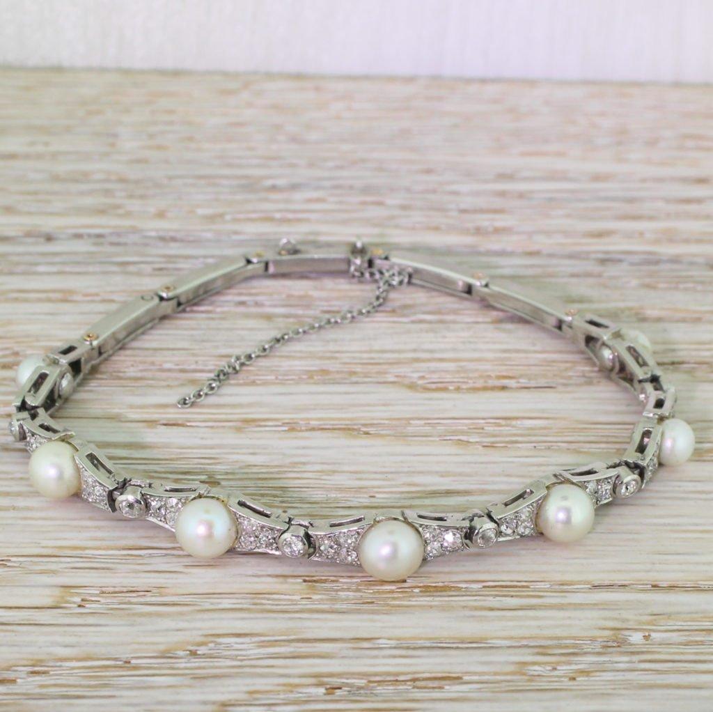 mid century natural saltwater pearl 038 diamond bracelet circa 1945
