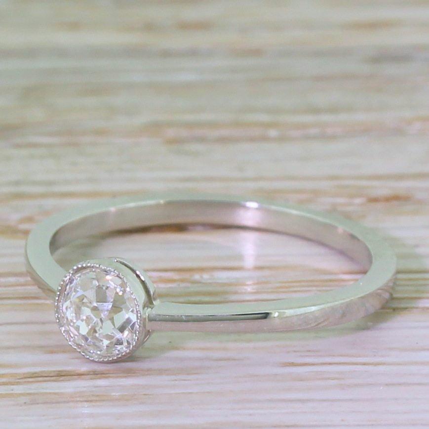 art deco 050 carat old cut diamond engagement ring circa 1915