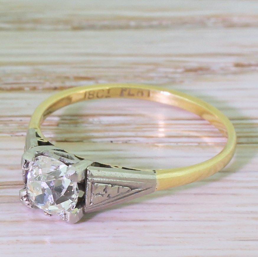 edwardian 092 carat old cut diamond engagement ring circa 1910