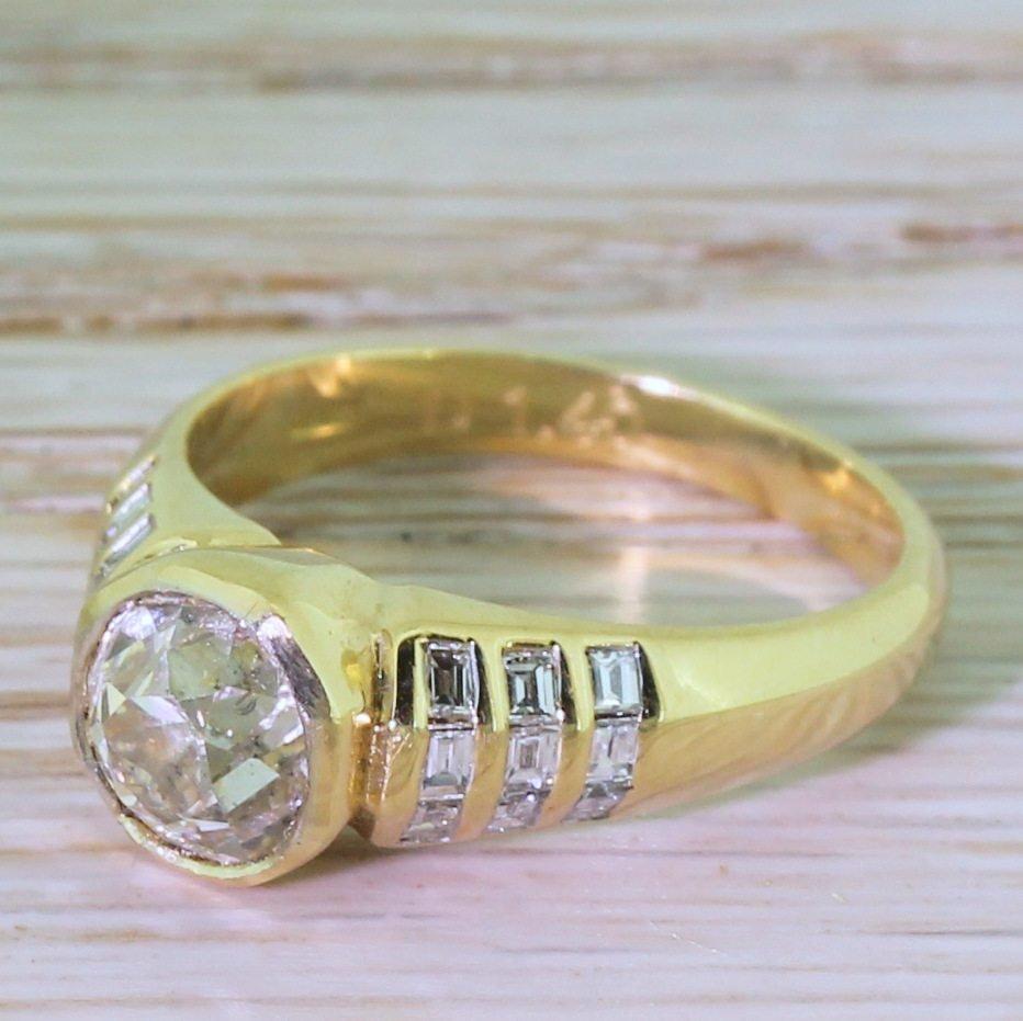mid century 150 carat old cut diamond engagement ring circa 1960