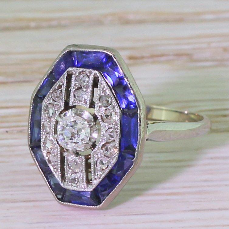 art deco diamond 038 calibr cut sapphire ring circa 1940