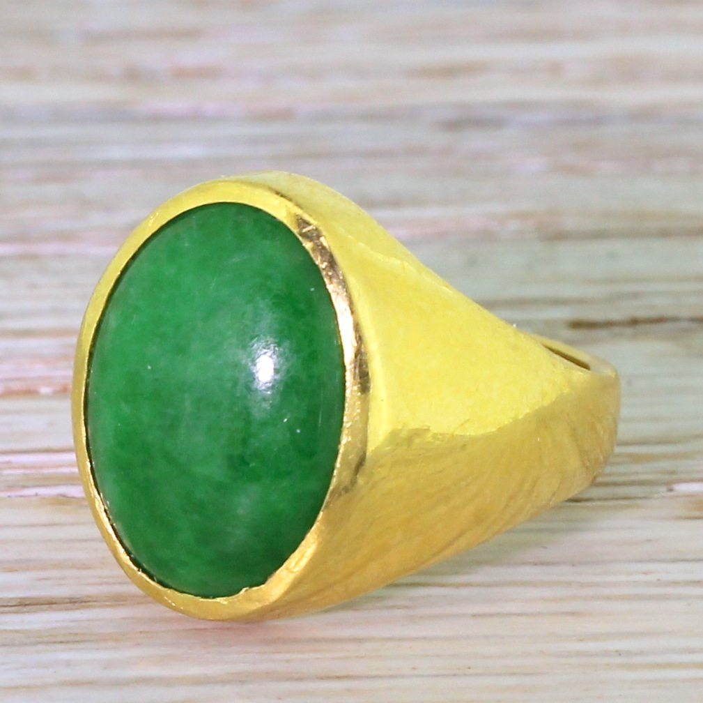 late 20th century jade solitaire ring circa 1970