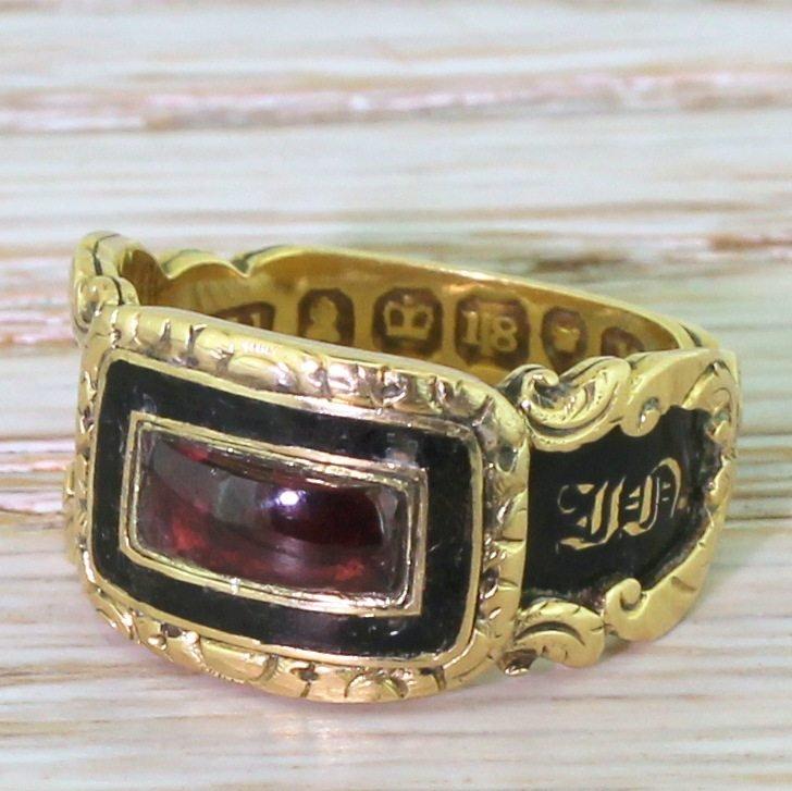 georgian garnet 038 black enamel mourning ring dated 1832