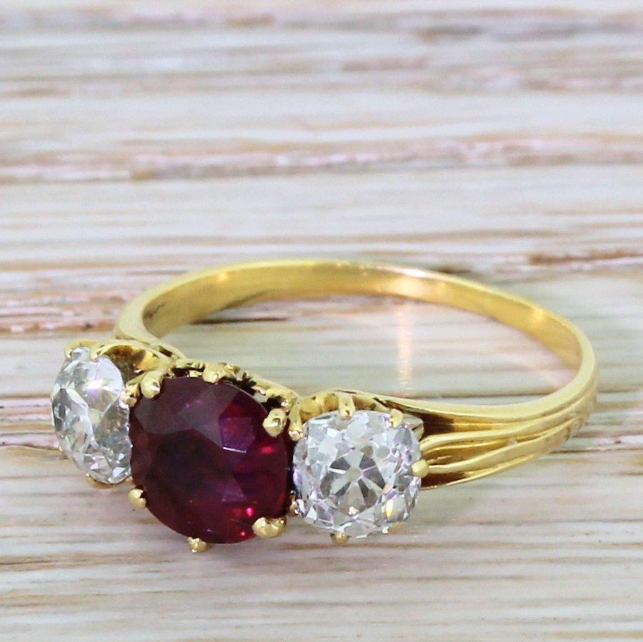 victorian 160 natural burmese ruby 038 old cut diamond trilogy ring circa 1900