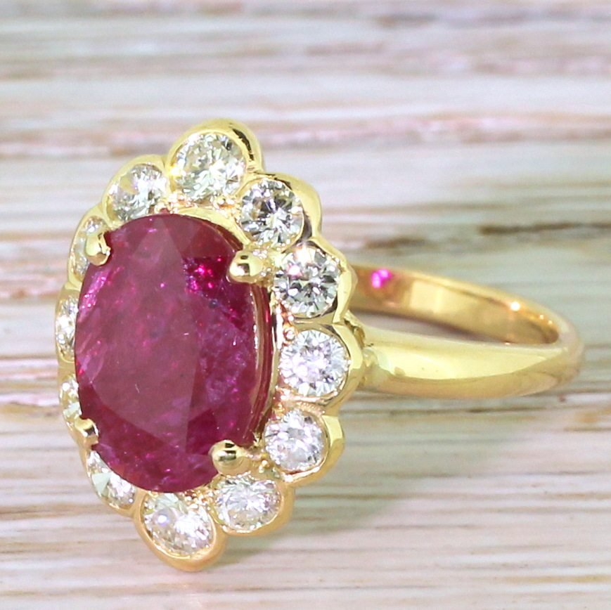 mid century 220 carat natural ruby 038 130 carat diamond cluster ring circa 1970