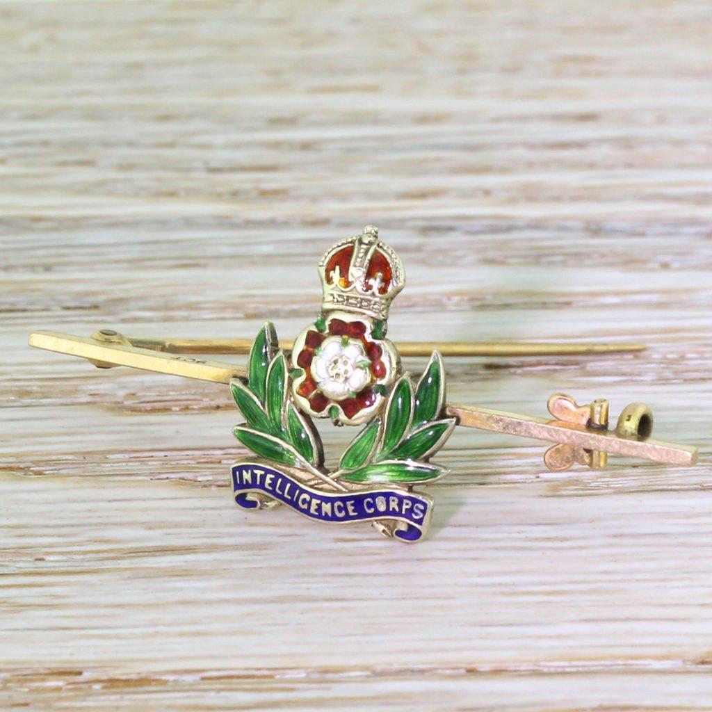 mid century intelligence corps enamel pin brooch circa 1950