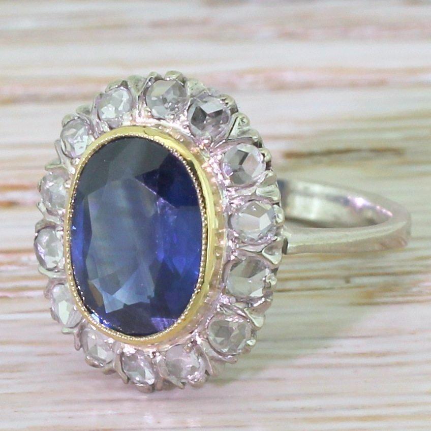 mid century 255 carat sapphire 038 rose cut diamond cluster ring circa 1950