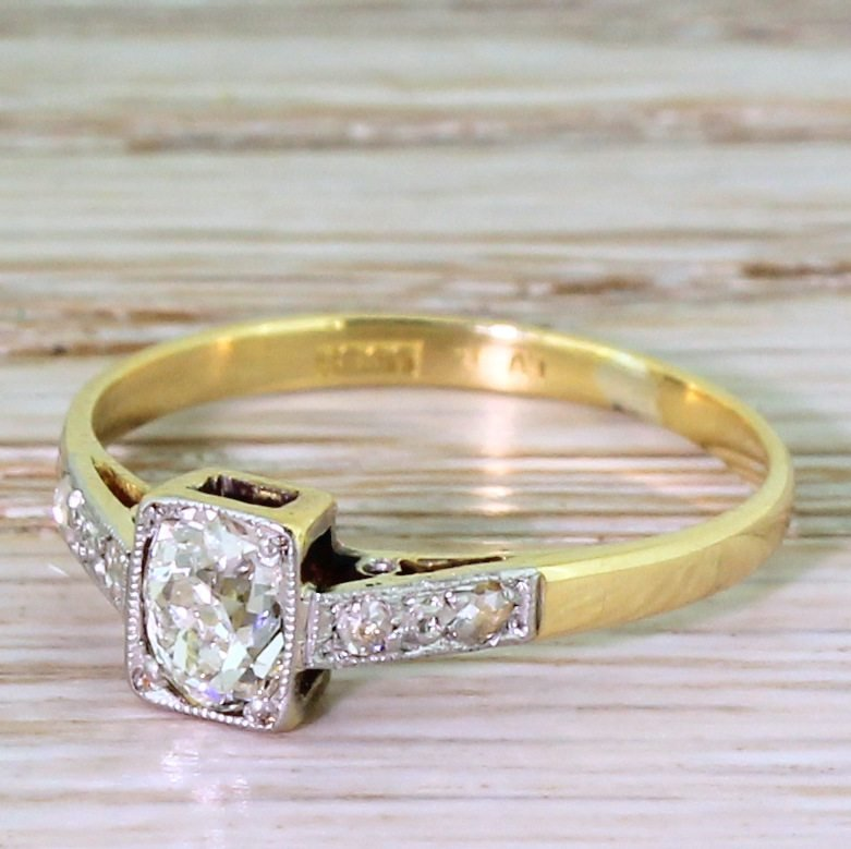 edwardian 045 carat old cushion cut diamond engagement ring circa 1905