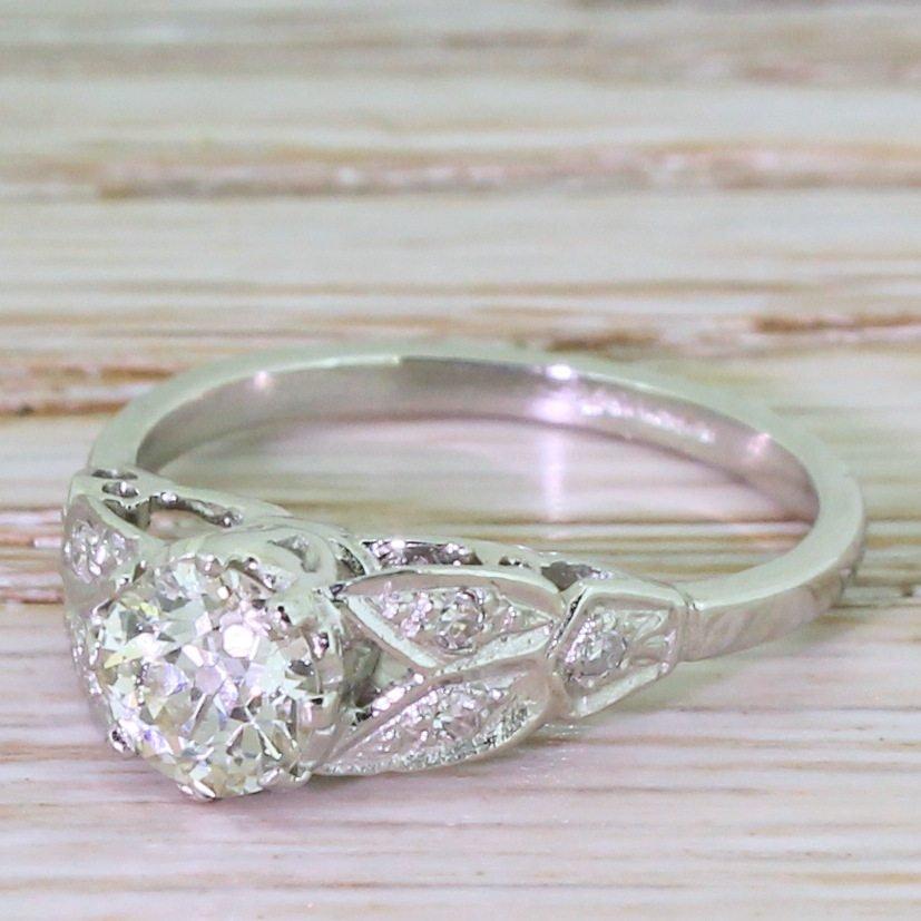 art deco 069 carat old cut diamond engagement ring circa 1925