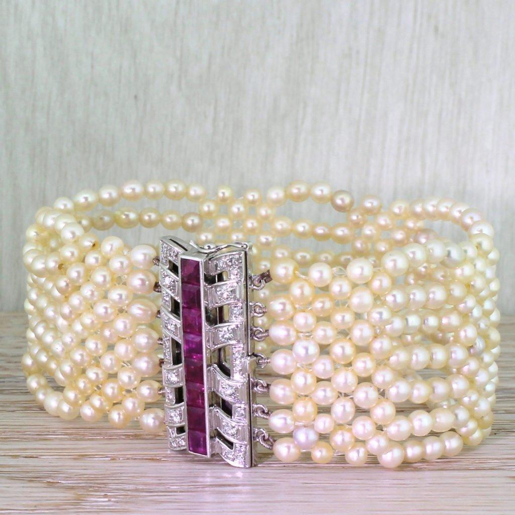 mid century pearl bracelet with ruby 038 diamond clasp circa 1970