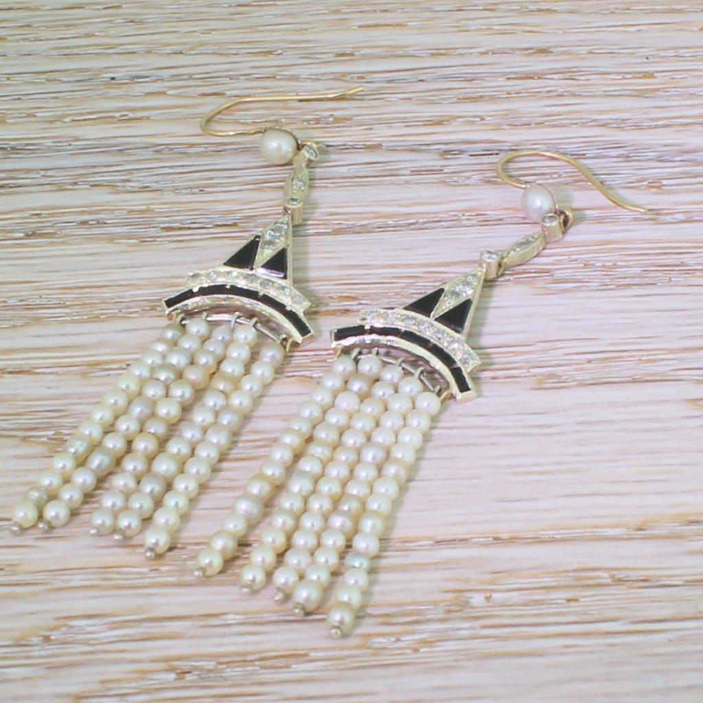 art deco natural pearl diamond 038 onyx chandelier earrings circa 1930