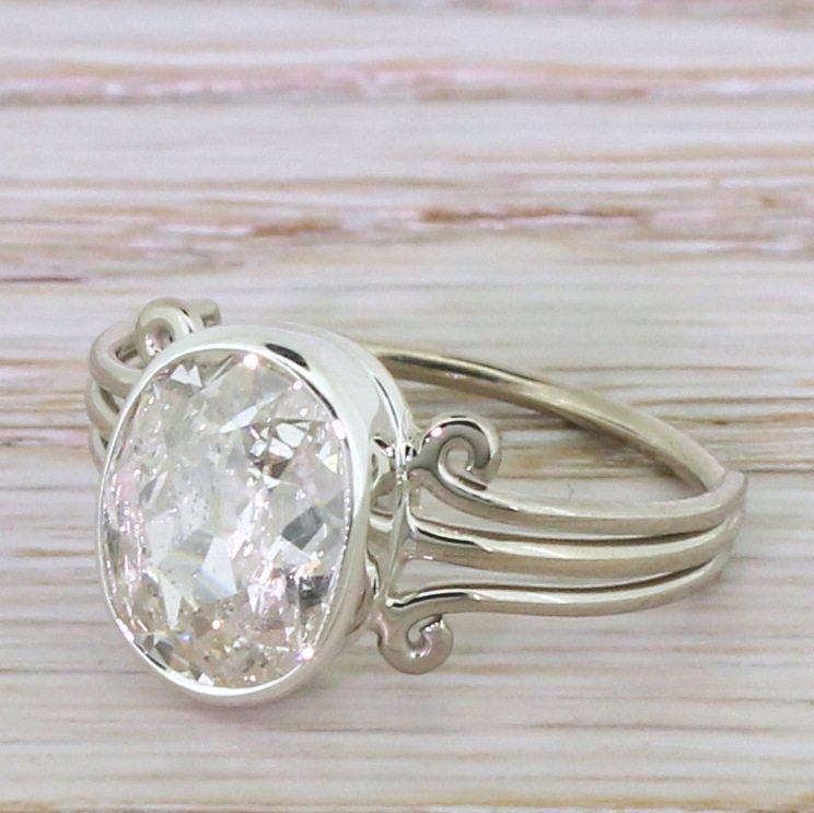 art deco 203 carat old oval cut diamond engagement ring circa 1935