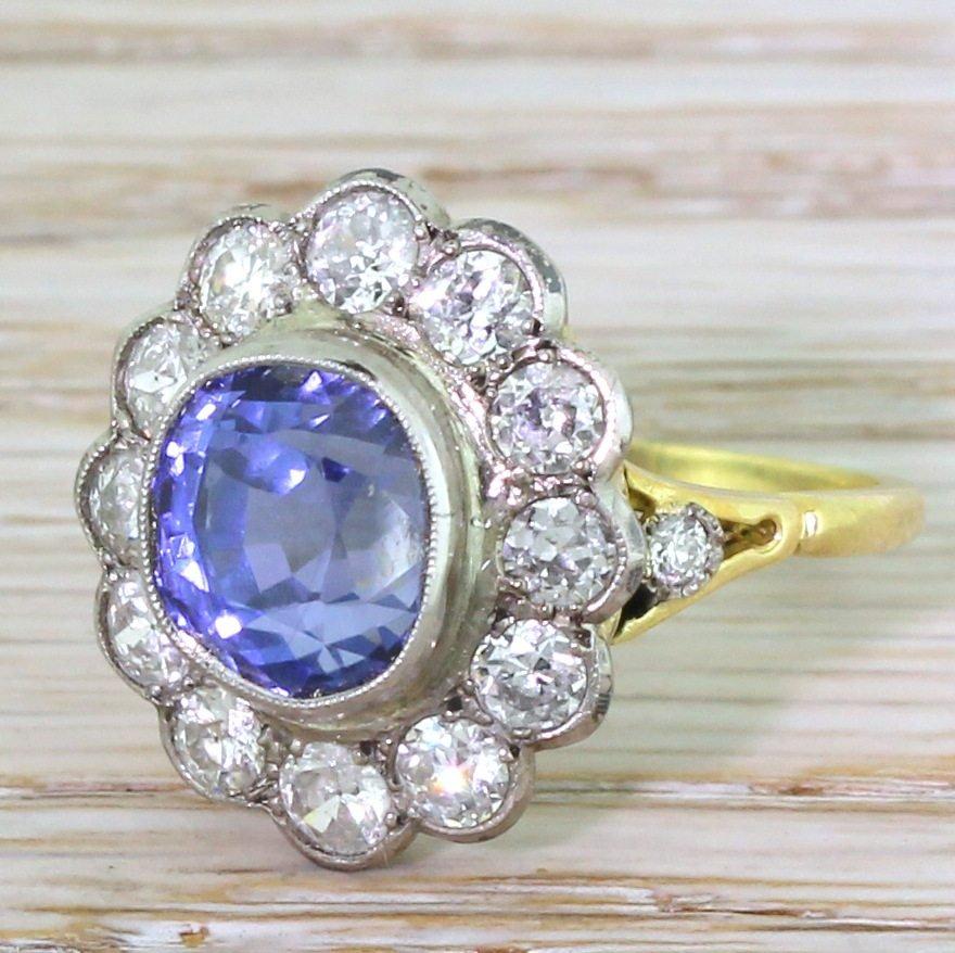 art deco 576 carat natural ceylon sapphire 038 old cut diamond cluster ring circa 1925