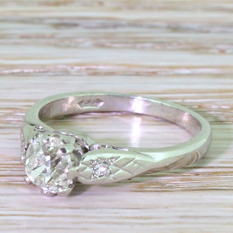 late 20th century 080 carat old cut diamond engagement ring dated 1973