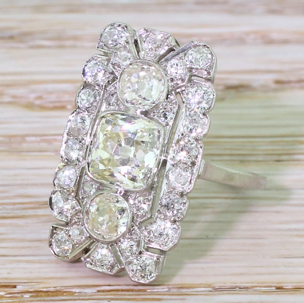 art deco 305 carat old cut diamond plaque ring circa 1920