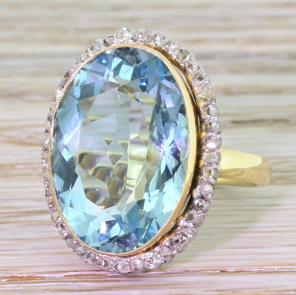 retro 1692 carat aquamarine 038 rose cut diamond cluster ring circa 1945